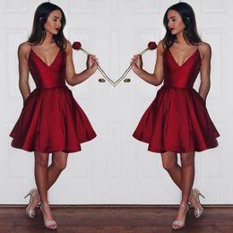 Wholesale Deep Pink Graduation Dress - Simple Cheap Dark Red Homecoming Dress 2017 Spaghetti Straps Short Prom Dress Satin mini graduation prom dress