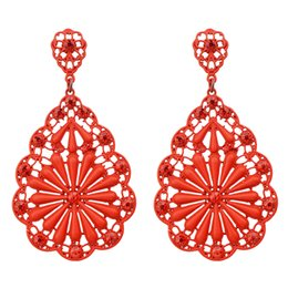 Wholesale Blue Color Rhinestone Earrings - New Arrival Antique Blue Black Red Beige Color And Rhinestone Hollow Out Dangle Earrings For Women
