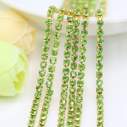 Wholesale Peridot Gold Charm - Unplated Raw Brass Glass Crystal Peridot Rhinestone Cup Chain Vintage Shabby Style, Central Coast Charms, SS6.5-SS12, 3.5-5Meters pack