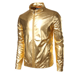 Wholesale Shiny Jackets Men - Wholesale- Nightclub Trend Metallic Gold Shiny Jacket Men Veste Homme Fashion Brand Front-Zip Lightweight Baseball Bomber Jacket B2326