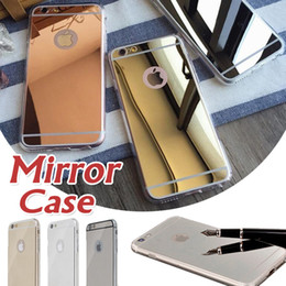 Wholesale Bumper Case For 4s - Mirror Electroplating Shock-Absorption Clear TPU Bumper Thin Protective Cover Case For iphone 7 Plus 6 6s SE 5S 5 4S Samsung S8 Plus S7 Edge
