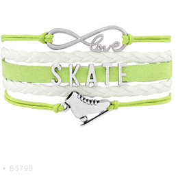Wholesale Suede Leather Jewelry - Infinity Love Skate Flip Figure Skating Axel Charm Bracelets For Women Black Light Blue White Suede Leather Wrap Jewelry