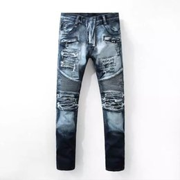 Wholesale Large Motorcycle Patches - Hole Motorcycle Jeans Men Europe and America to do the Old Street Washing Large Patch Tattered Ripped Jeans Hommes Locomotive Cotton Pants