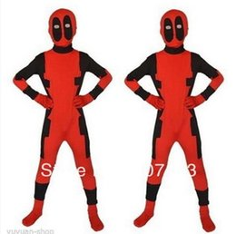 Wholesale Kids Deadpool Costumes - Kids Classic Deadpool Costume Spandex fullbody Halloween Cosplay Child Deadpool Superhero Costume zentai suit