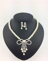 Wholesale Cheap Yellow Gold Wedding Sets - cheap diamond and pearl jewelry sets fashion jewelry sets latest 2017 pearl jewelry sets TDJ058