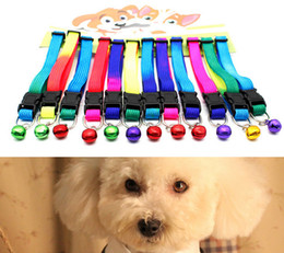 Wholesale Mardi Gras Necklaces - Pets Collars with Bell Cats Necklace Dogs Leash Traction Strap Anti Lost Rainbow Dog Collars Cats Necklaces Durable