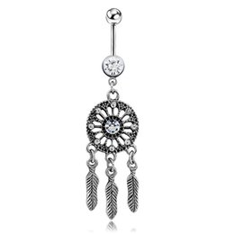Wholesale Feather Navel Ring - Dream catcher navel ring leaves feather navel ring Button Ring Body Piecing for Sexy Women