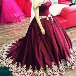 Wholesale China Clothing Bandage Dress - Cheap Clothes China Vestido Longo De Festa Para Casamento 2017 Off Shoulders Burgundy Evening Dresses Ball Gown Prom Long Dresses