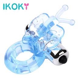 Wholesale butterfly vibrator ring - Wholesale- IKOKY Powerful Dildo Vibrator TPE Sex Shop Butterfly Vibrating Cock Penis Ring Sex Toys for Man Adult Products