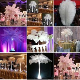 Wholesale White Craft Feathers - 300 pcs Per lot 20~25cm White Ostrich Feather Plume Craft Supplies Wedding Party Table Centerpieces Decoration Free Shipping