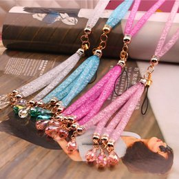 Wholesale Bead Mobile Phone Chain - High-grade diamond net mobile phone shell Halter LANYARD KEYCHAIN halter neck sweater chain