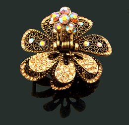Wholesale Blue Alexandrite - Wholesale Hot sale Vintage fashion flower rhinestone hair claw clip Hair Jewelry Accessory hair 12pcs lot Mixed colors