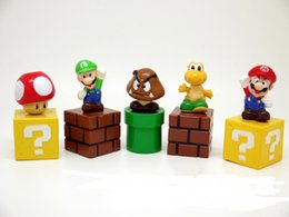 Wholesale New Super Mario - New High Quality PVC 5pcs sets Super Mario Bros Action Figures New Children kid gift toy Free shipping E1925