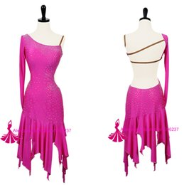 Wholesale Red Salsa Skirt - Rumba Dancing Costume Rose Red Latin Competition Dance Skirt Tango Stage Costumes Salsa Dance Dresses