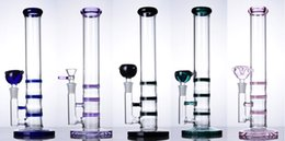 Wholesale Glass Vase Smoke - Glass Bongs straight tube pink blue green purple Water Pipe Vase Percolator Smoking Pipe hookah 14 mm joint 3 layers honeycomb
