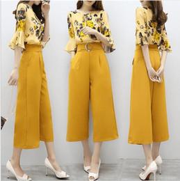 Wholesale Wide Legs Pants Suit - 2017 new women's summer two-piece Korean version of the chiffon printed shirt wide leg pants fashion Western style suit fashion
