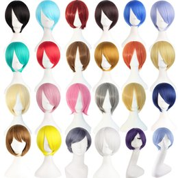 Wholesale Mens Black Hair Wigs - air for men MapofBeauty 25cm Short Straight Green black pink Gray 26 Colors Cosplay Wig Heat Resistant Synthetic Hair for Womens mens per...