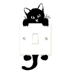 статические настенные наклейки Скидка Черный пвх наклейки для детской комнаты съемный Пастер самостоятельно Sdhesive кошка форма выключатель света стены наклейки антистатические 0 6cz B