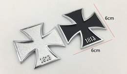 Wholesale Silver Animal Car Stickers - 2pieces metal emblem badge 1813 the German Cross pattern Silver Black colors for all car makers DIY Decoration