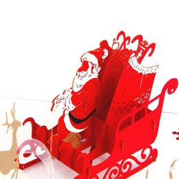 Wholesale Origami 3d Cards - Wholesale- Hot 3D Handcrafted Origami Merry Christmas Greeting Cards Pop Up Card Santa Claus Deer Car Postcards 2017