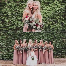 Wholesale Peach Floor Length Bridesmaid Dresses - 2017 Custom Made Country Cheap Peach Bridesmaid Dresses Sweetheart Sleeveless Long Party Gowns Bridesmaids Dress for Wedding Event