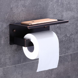 Wholesale Tissue Holder Metal - Oil Rubbed Bronze Toilet Paper Holder Waterproof Cover Wall Mount Tissue Bar Shelf Storage Holder free Shipping