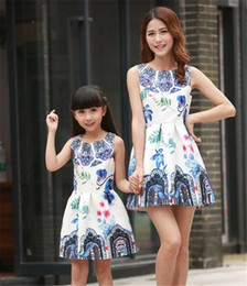 Wholesale Girl Matching Costumes - Family Matching Clothing Dresses For Girls And Mother European style Girl Dress Family costume Mother Daughter Clothes