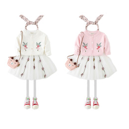 Wholesale Knitted White Baby Cardigan - Baby Girls Sweaters Tops Long Sleeve Knitting Cardigan Flower Embroidered Children Clothing Top Girl's Sweaters Pink White A7517