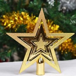 gold sterne weihnachtsschmuck großhandel Rabatt Großhandels-1pcs 9.5CM goldener Glitter-Stern-Weihnachtsbaum-Deckel-Verzierungs-Dekor-Weihnachtshaus-festliche Dekorationen
