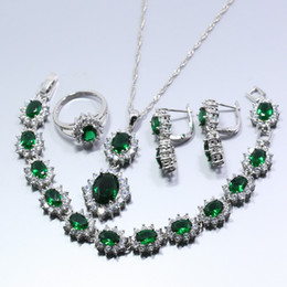Wholesale 14k White Gold Emerald Earrings - Luxury Green Created Emerald White Zircon 925 Silver 4PCS Jewelry Set Earring Necklace Bracelet Pendant Ring For Women W132