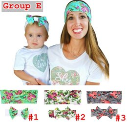 Wholesale Baby Hair Ornament - 6styles Mom & Baby Rabbit Ears headband set cute Bow Headband Hair Ornaments Stretch Knot Cross Bow Headbands Hair Accessories 2PC Set