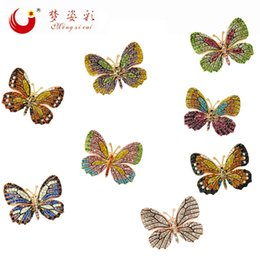 Wholesale acryl colors - Wholesale- MZC 8 Colors Rhinestone Crystal Women Butterfly Brooches Female Hijab Pins Brosh Collar Brooch Acryl Insect Brooch Boutonniere