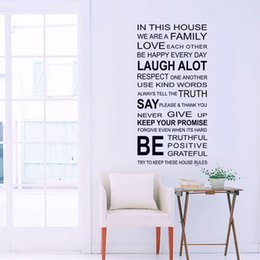 Wholesale Wall Decor Sticker Sofa - IN THIS HOUSE English DIY Wall Stickers Home Decor Living Room Sofa Wall Decals Home Decoration, WE ARE FAMILY Wallpaper