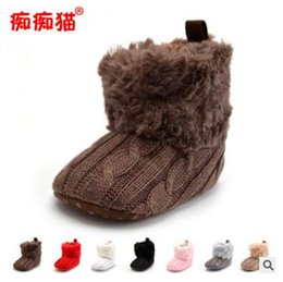 Wholesale Velvet Fabric Baby Shoes - Winter Plus Velvet Baby Crib Shoes Keep Warm Wool Baby Boots Newborn Indoor Room First Walkers Shoes 7 Colors DHL Free Shipping