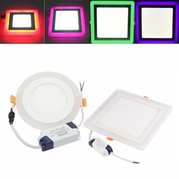 Wholesale Touch Panel Switches - 2018 Newest 6W 9W 16W 24W Round Square Concealed Dual Color LED Panel Light Lamp Downlight Recessed Ceiling Lights Indoor Lighting AC 85-265