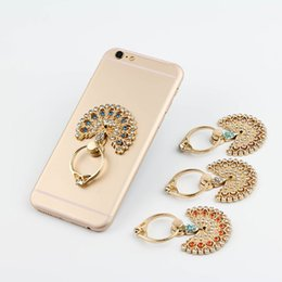 Wholesale Peacock Diamond Ring - Hot Metal Universal Luxury Peacock Diamond Finger Ring Phone Holder 360 Degree Rotation Mount For iPhone Samsung Mobile Phones Tablet Dock