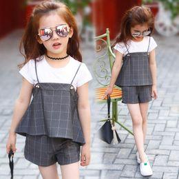 Wholesale Girls Shirts Suspenders - Wholesale 2017 fashion summer kids suits girls clothes plaid grey pearl suspenders t shirt shorts 3pcs set 110-160cm