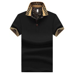 Wholesale 4xl Button Shirt - plus size M~5XL Men's Brand Polo Shirt For Men Designer Polos Men Short Sleeve shirt jerseys golftennis clothing XZ-041