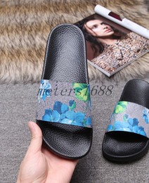 Wholesale brown slides - 2017 mens and womens fashion causal slippers boys &girls tian blooms print flower slide sandals unisex outdoor beach flip flops size 34-45
