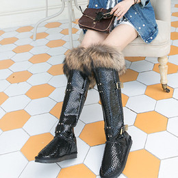 Wholesale Waterproof Long Boots - Wholesale- 2016 Fox Fur Nature Leather Winter Snow Boots Women Waterproof Over The Knee Long Boots Size 40