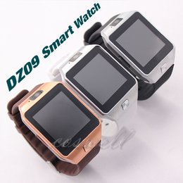 Wholesale Dz Watch Box - DZ09 Bluetooth Smart Watch Wearable DZ 09 sport Box package SIM Card For Apple IOS Android Cell phone 1.56inch DHL