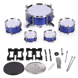 Wholesale Musical Instrument Toy Set - Children Kids Drum Set Musical Instrument Toy 5 Drums with Small Cymbal Stool Drum Sticks for Boys Girls I1984X