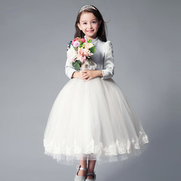 Wholesale Girls Long Sleeved Lace Dress - 2017 White And Grey Flower Girls Dresses A-line Girls Party Dresses Tulle Lace Dresses For Girls Long Sleeved O-neck Formal For Wedding