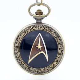 Wholesale Vintage Plastic Necklace - Vintage Bronze Star Trek Star Fleet Dome Quartz Pocket Watch Analog Pendant Necklace Men Women Watches Chain Kids Gift