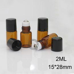 Wholesale 1ml Glass Bottles - 1ML 2ML Glass Roll on Bottle with Stainless Steel roller Small Essential Oil Roller-on bottle