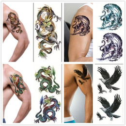 Wholesale Car Body Art Stickers - Wholesale-3D New Man's Sleeve Arm Leg Temporary Totem Tattoo Stickers Body Art Tattoos Diy Body painting Car Wall Decals