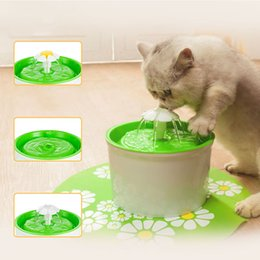 Wholesale Pet Dishes - Wholesale-Green Flower Style New Automatic Cat Dog Kitten Water Drinking Fountain Pet Bowl Drink Dish Filter