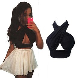 Wholesale Womens Cross Tee - New Womens Cross Over Crop Top Ladies Nightclub Bralet V Neck Cut Out Vest Tee