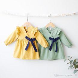 Wholesale Kimono Style Dress Sleeve - 2017 Ins NEW Fashion Girl Dress Stripped V-neck long sleeve Japan Style kimono dress 100% cotton fall elegant casual style girl dress
