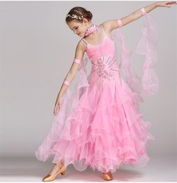 Wholesale Ballroom Dress Waltz - Children Girls Ballroom Dance Dress Modern Waltz Standard Competition Rhinestones Dance Dress 4Color